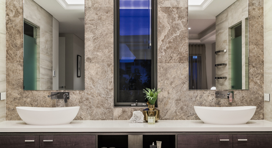 Custom bathroom with luxury sink
