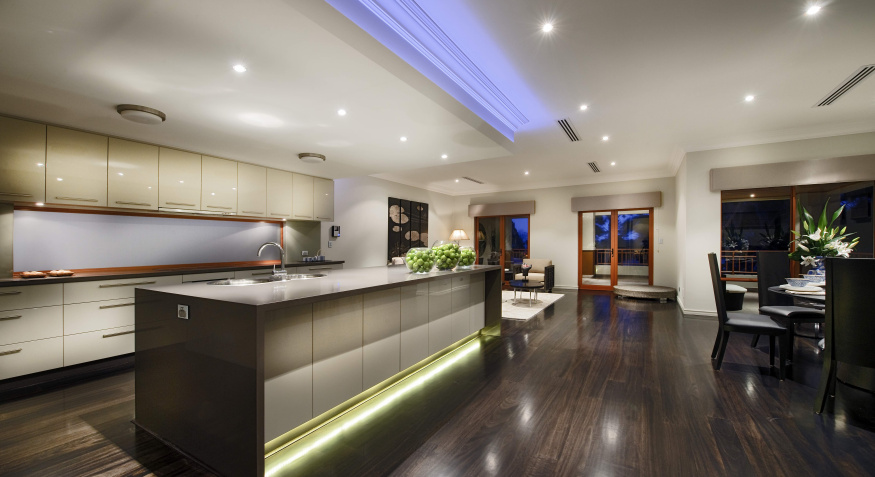 luxury timber floor and kitchen