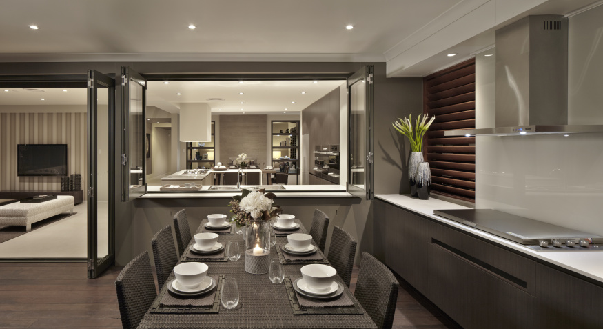 CHIFLEY Homeworld Gledswood Hills Alfresco dining view thru to kitchen and internal dining
